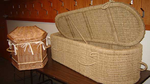 green seagrass and wicker casket