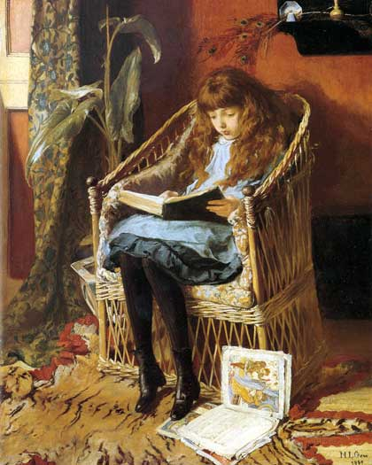 oil-painting-figurative-painting-19c-girl-with-book-in-painting Mary Gow, Fairy Tales, 1880s