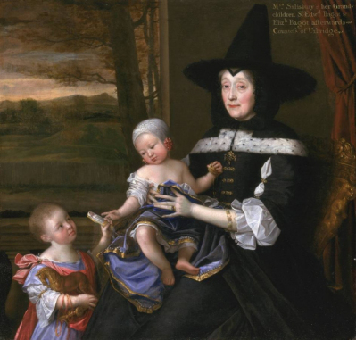 """Portrait of Mrs. Salisbury and her Grandchildren Edward and Elizabeth"" by John Michael Wright, 1675"